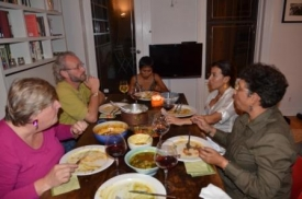 Dinner with friends in the NY apartment